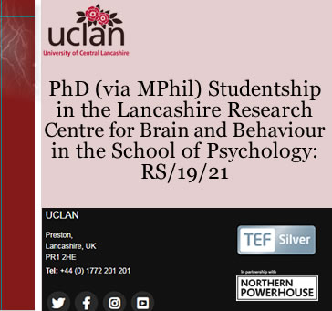 PhD Studentship in the Lancashire Research Centre for Brain…
